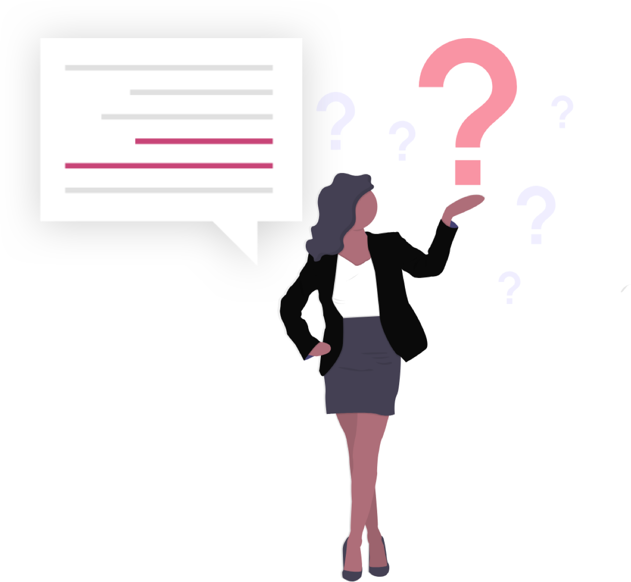 lady holding question mark